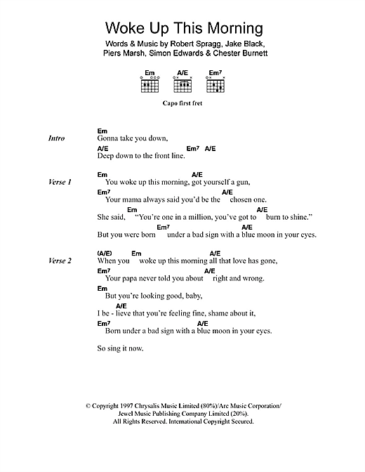 Woke Up This Morning (Theme from The Sopranos) Sheet Music