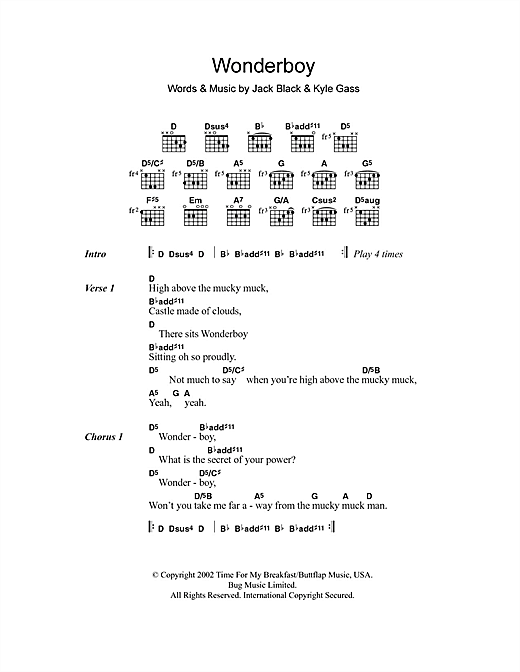 Wonderboy (Guitar Chords/Lyrics)