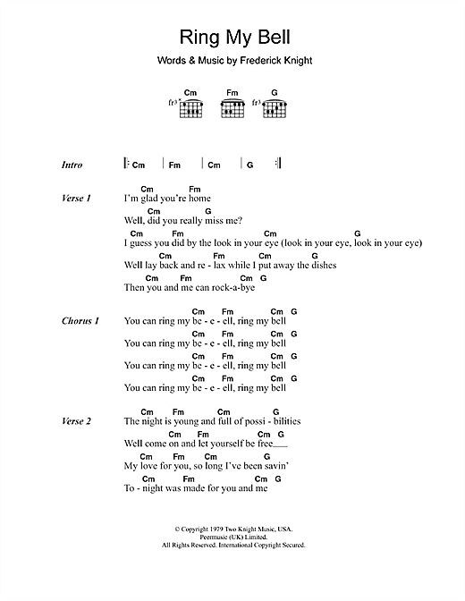 Ring My Bell (Guitar Chords/Lyrics)