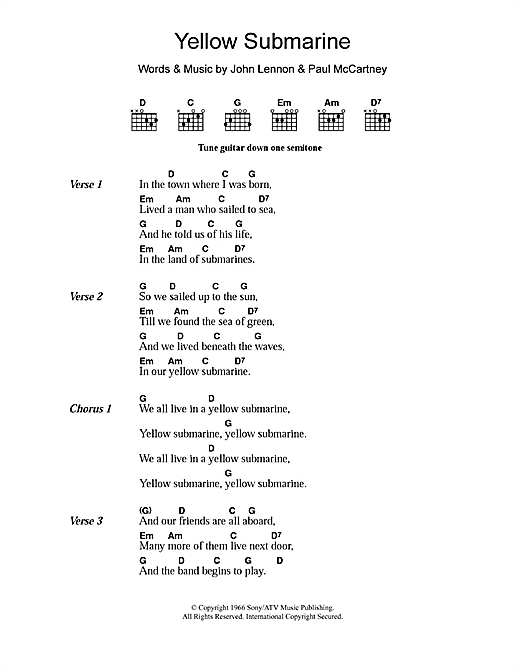 Guitar yellow guitar chords : Yellow Submarine sheet music by The Beatles (Lyrics & Chords – 108869)
