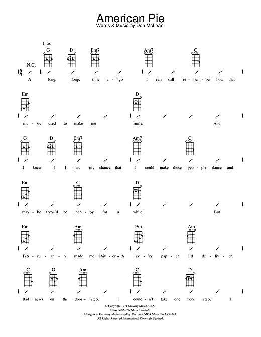 Tablature guitare American Pie de Don McLean - Ukulele (strumming patterns)