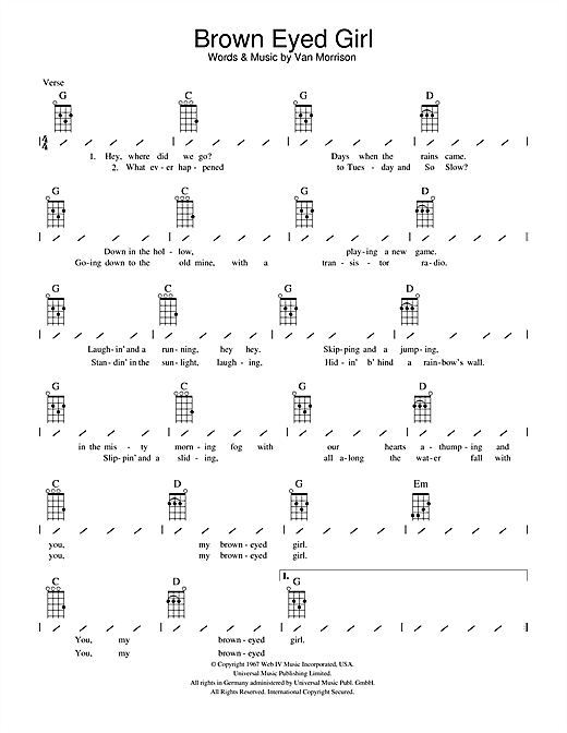 Ukulele ukulele tabs van morrison : Brown Eyed Girl sheet music by Van Morrison (Ukulele with ...