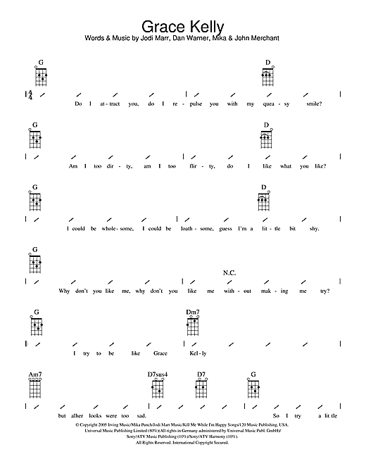 Tablature guitare Grace Kelly de Mika - Ukulele (strumming patterns)