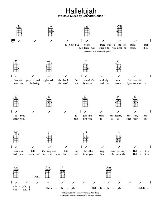 Hallelujah sheet music by Leonard Cohen (Ukulele with strumming patterns u2013 108876)