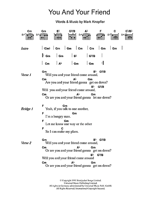 You And Your Friend (Guitar Chords/Lyrics)