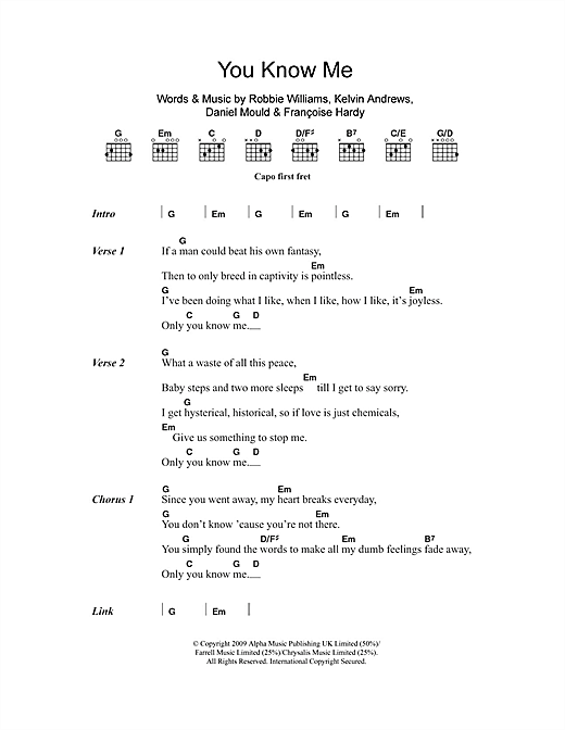 You Know Me (Guitar Chords/Lyrics)