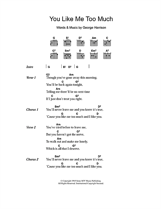You Like Me Too Much (Guitar Chords/Lyrics)