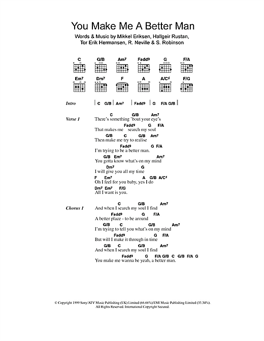 You Make Me A Better Man (Guitar Chords/Lyrics)