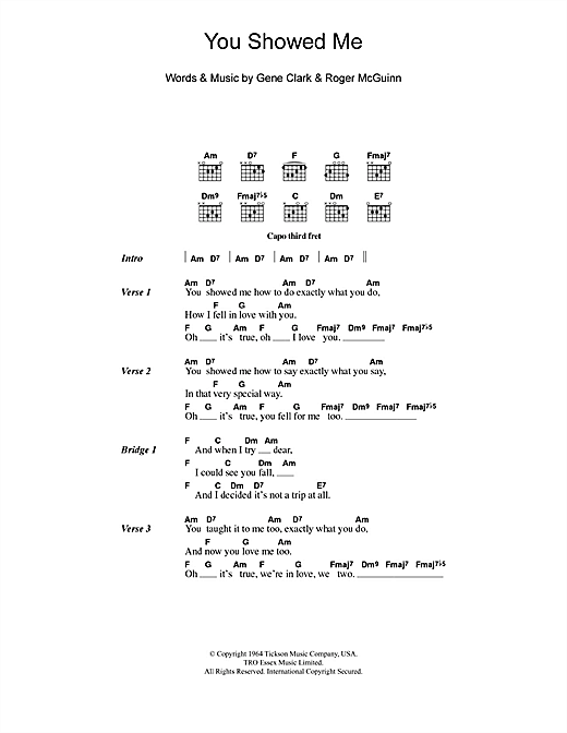 You Showed Me (Guitar Chords/Lyrics)