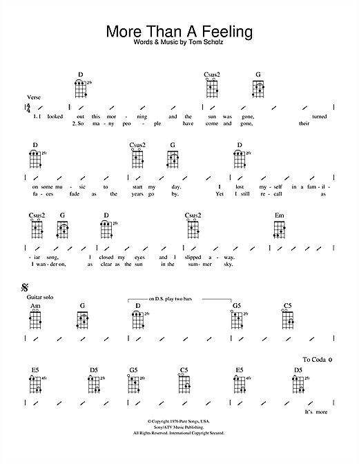 Tablature guitare More Than A Feeling de Boston - Ukulele (strumming patterns)