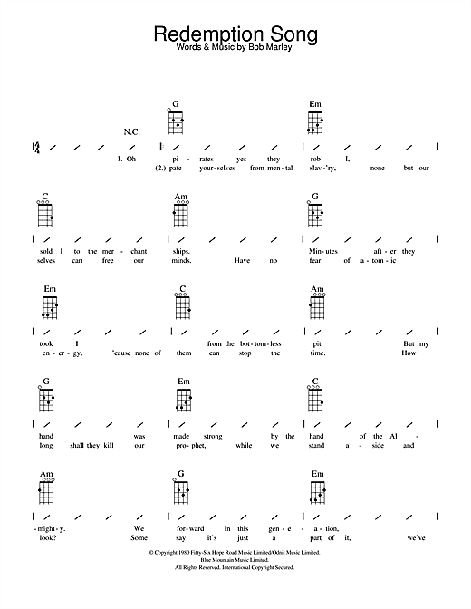 Ukulele ukulele chords songs easy : Redemption Song sheet music by Bob Marley (Ukulele with strumming ...