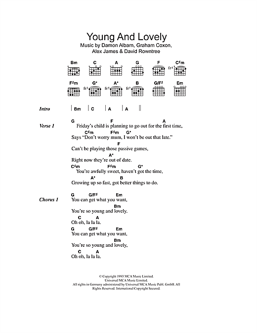 Young And Lovely (Guitar Chords/Lyrics)