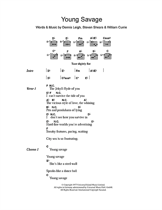 Young Savage (Guitar Chords/Lyrics)