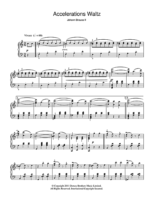 Partition piano Accelerations Waltz, Op. 234 de Johann Strauss II - Piano Solo