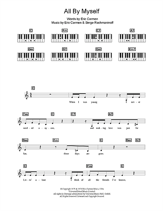 Partition piano All By Myself de Celine Dion - Synthétiseur