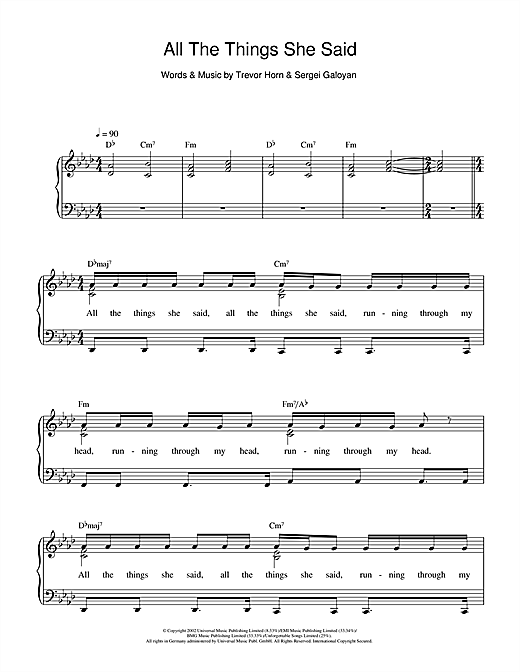 All The Things She Said Sheet Music