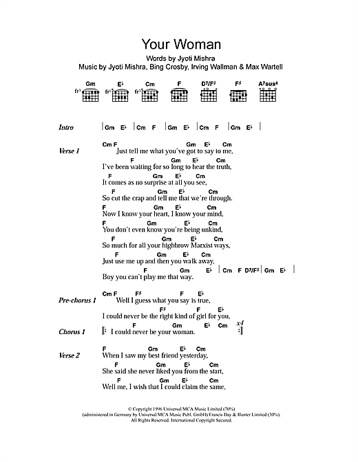Your Woman Sheet Music