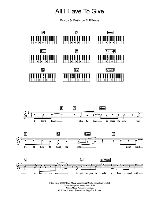 Partition piano All I Have To Give de Backstreet Boys - Synthétiseur
