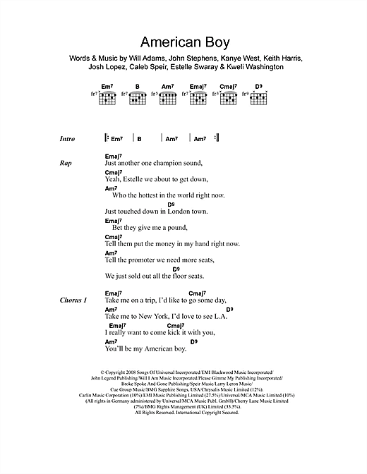 American Boy (feat. Kanye West) Sheet Music
