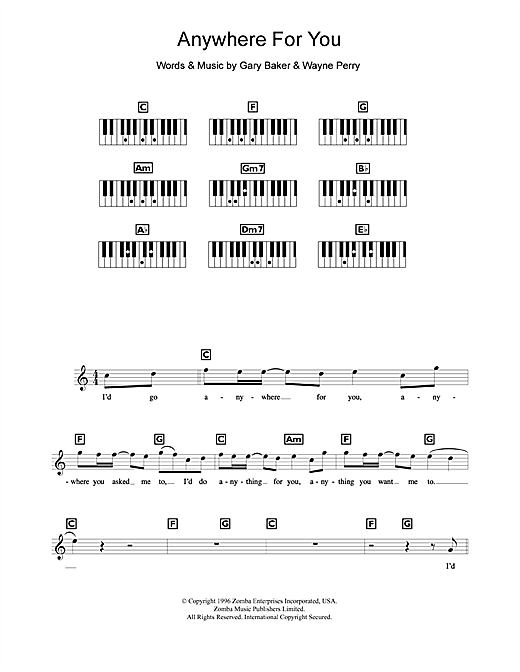 Partition piano Anywhere For You de Backstreet Boys - Synthétiseur