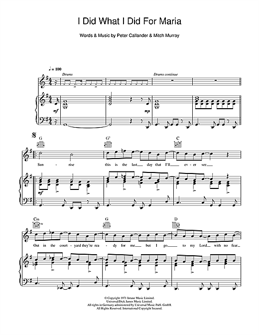 I Did What I Did For Maria (Piano, Vocal & Guitar (Right-Hand Melody))