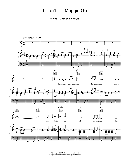 I Can't Let Maggie Go Sheet Music