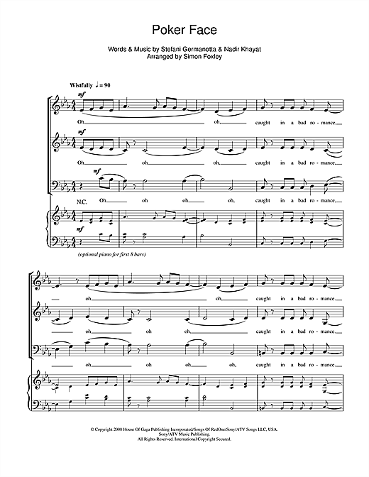 Poker Face / Bad Romance (arr. Simon Foxley) Sheet Music