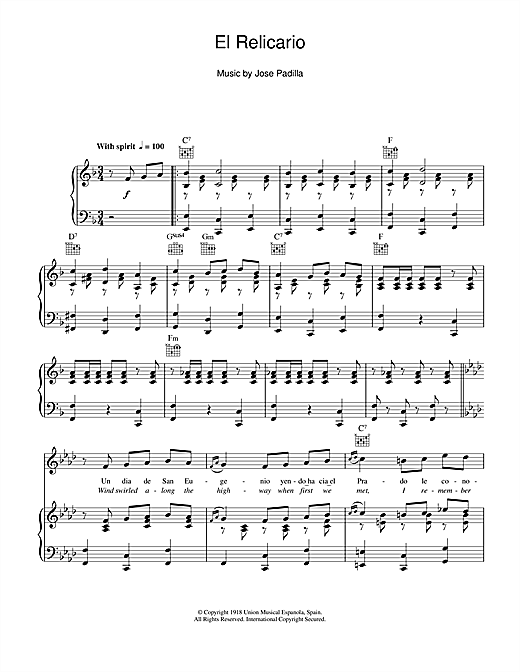 El Relicario sheet music by Xavier Cugat (Piano, Vocal