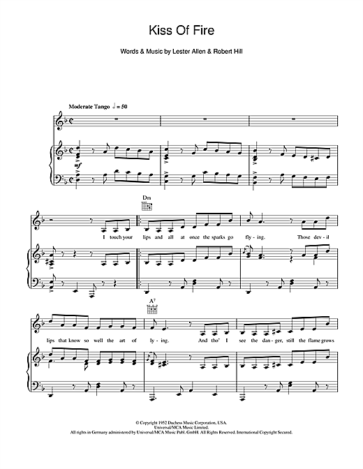 Kiss Of Fire Sheet Music