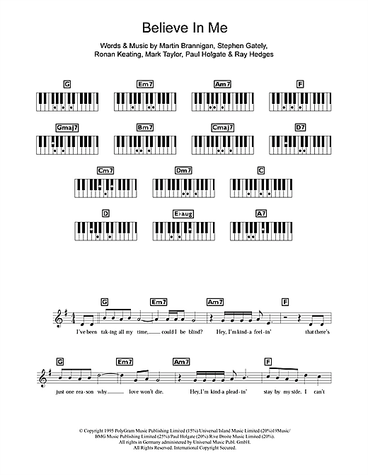 Believe In Me Sheet Music