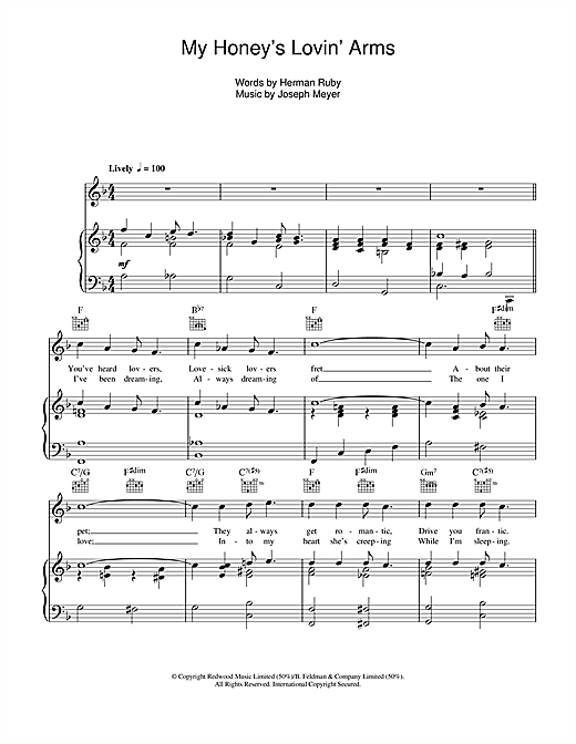My Honey's Lovin' Arms Sheet Music