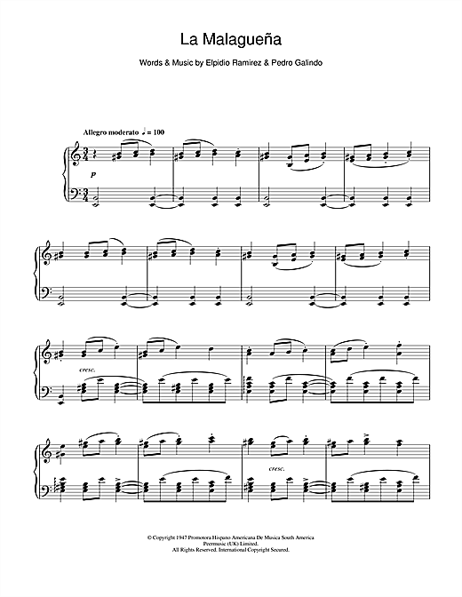 La Malaguena Sheet Music
