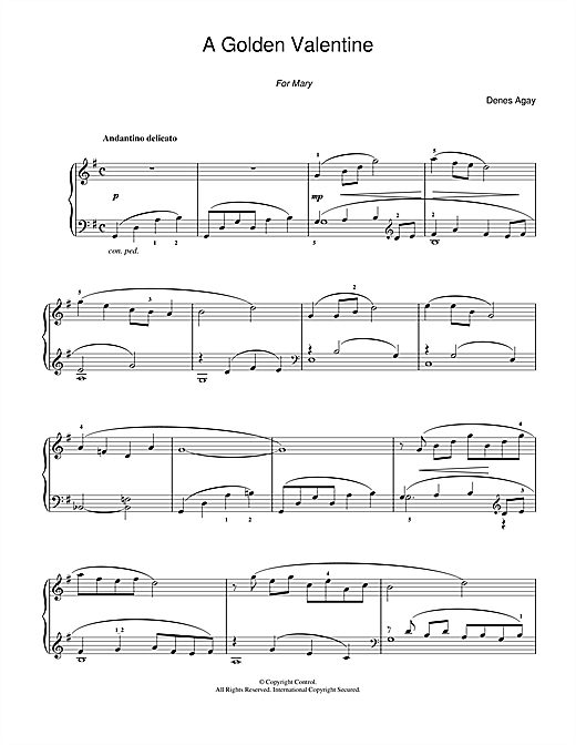 A Golden Valentine (for Piano) Sheet Music