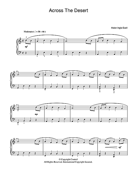 Across The Desert Sheet Music