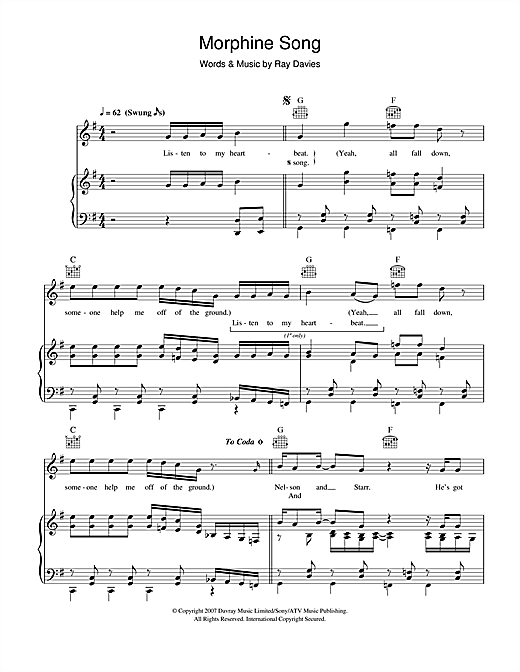 Morphine Song Sheet Music