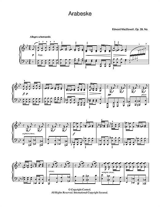 Partition piano Arabeske de Edward MacDowell - Piano Solo
