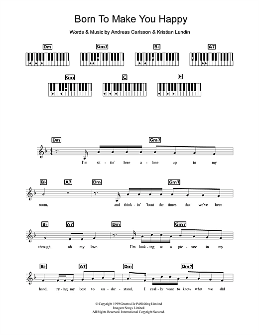 Partition piano Born To Make You Happy de Britney Spears - Synthétiseur