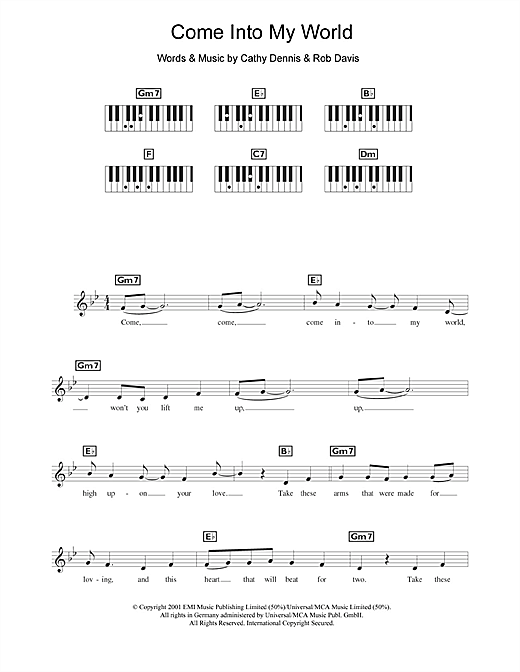Come Into My World Sheet Music