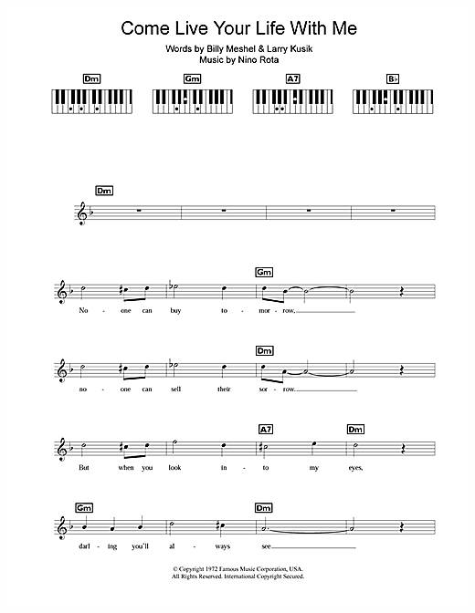 Partition piano Come Live Your Life With Me de Peter Cincotti - Synthétiseur