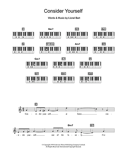 Partition piano Consider Yourself (from Oliver!) de Lionel Bart - Synthétiseur