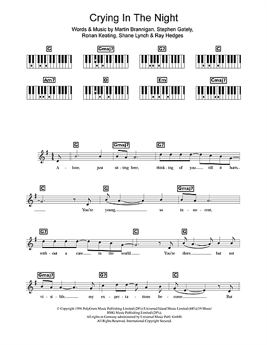 Crying In The Night Sheet Music