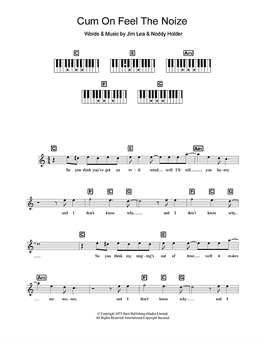 Cum On Feel The Noize Sheet Music