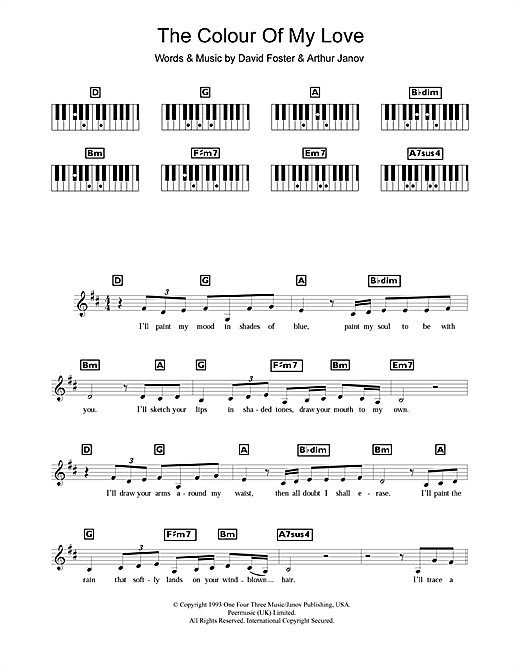 The Colour Of My Love Sheet Music