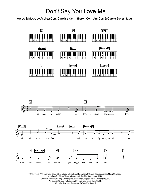 Don't Say You Love Me Sheet Music