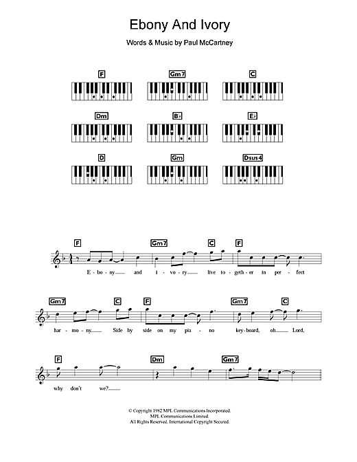 Partition piano Ebony And Ivory de Paul McCartney - Synthétiseur