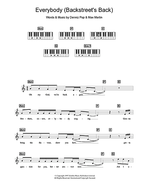 Everybody (Backstreet's Back) Sheet Music