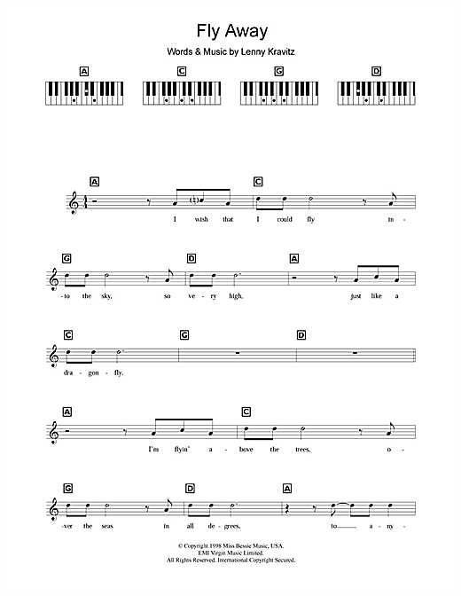 Partition piano Fly Away de Lenny Kravitz - Synthétiseur