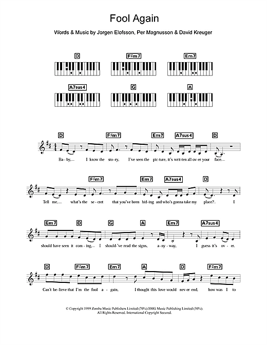 Fool Again Sheet Music