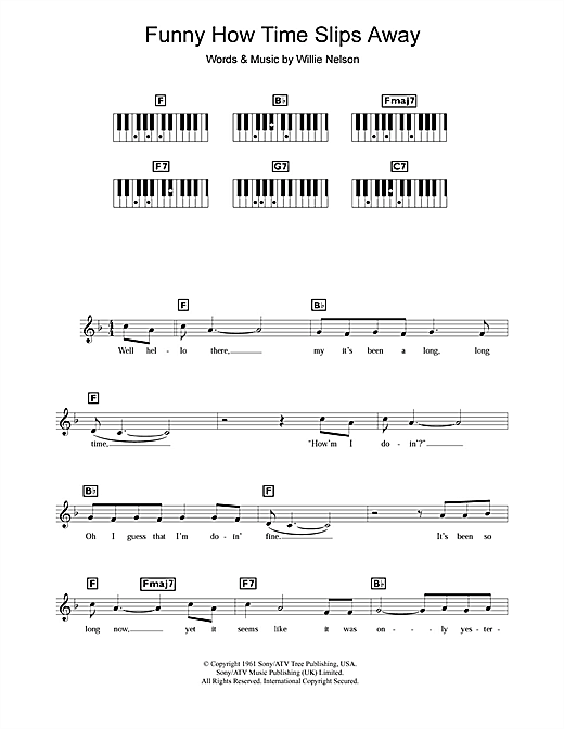 Partition piano Funny How Time Slips Away de Willie Nelson - Synthétiseur