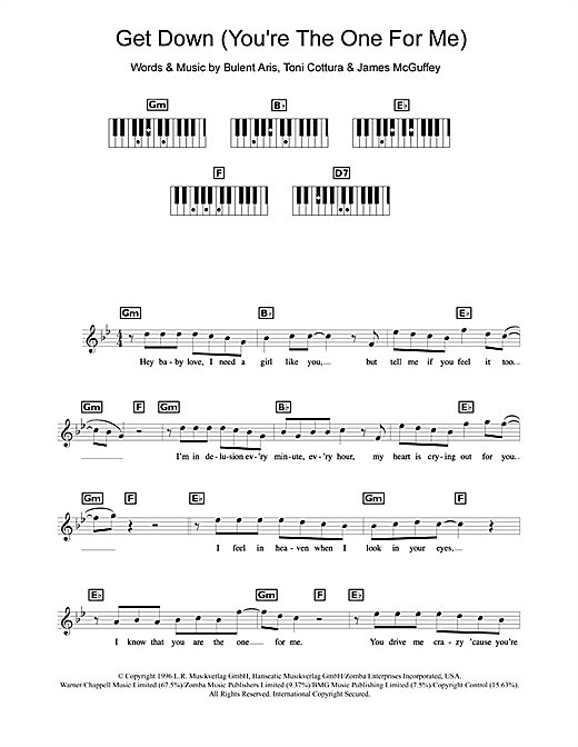 Get Down (You're The One For Me) Sheet Music
